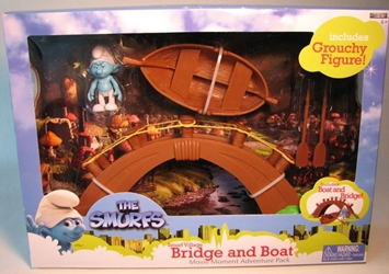 Smurfs - Smurf Village Bridge and Boat w Grouchy Jakks, Smurfs, Action Figures, 2011, animated, cartoon, movie