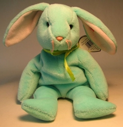 Ty Beanie Baby - Hippity (pale green bunny) Ty, Beanie Baby, Plush, 1996, cute animals