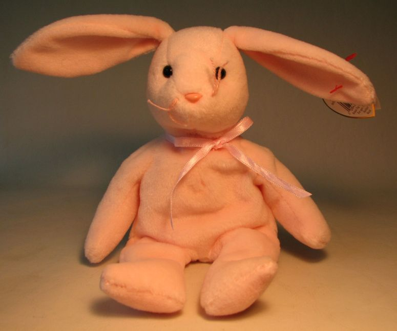 Ty Beanie Baby - Hoppity (pale pink bunny) Ty, Beanie Baby, Plush, 1996, cute animals