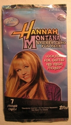 Hannah Montana Sticker Card Fun Pack  (7 cards in pack) Topps, Hannah Montana, Games, 2008, teen, tv show