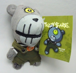 Teddy Scares Monster Mouth plush keychain - Abnormal Cyrus Applehead Factory, Teddy Scares, Keychains, 2009|Color~grey|Color~olive, horror, halloween, counterculture