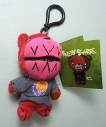 Teddy Scares Monster Mouth plush keychain - Edwin Morose Applehead Factory, Teddy Scares, Keychains, 2009|Color~red|Color~pink, horror, halloween, counterculture