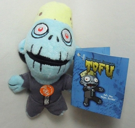 Teddy Scares Monster Mouth plush keychain - Tofu the Vegan Zombie Applehead Factory, Teddy Scares, Keychains, 2009|Color~cyan|Color~grey, horror, halloween, counterculture