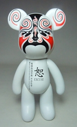 Popobe 5 inch Peking Opera Wise Bear (tattoo mask) Popobe, Popobe Bear, Action Figures, 2010, vinyl