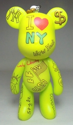 Popobe 5 inch I Love New York Bear (keychain) Popobe, Popobe Bear, Keychains, 2010|Color~yellow, vinyl