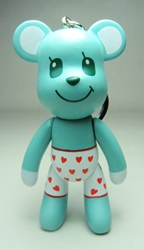 Popobe 3 inch Lovetruck Bear in Valentine Boxers (keychain) Popobe, Popobe Bear, Keychains, 2010|Color~cyan|Color~white|Color~red, vinyl