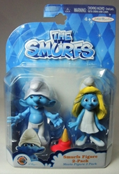 Smurfs - 2.5 inch figures 2-pack Clumsy & Smurfette Jakks, Smurfs, Action Figures, 2013, animated, cartoon, movie