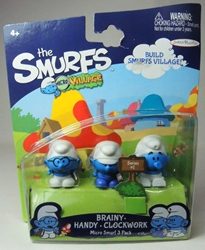 Smurfs - 1 inch micro figures Brainy + Handy + Clockwork Jakks, Smurfs, Action Figures, 2013, animated, cartoon, movie