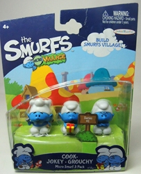 Smurfs - 1 inch micro figures Cook + Jokey + Grouchy Jakks, Smurfs, Action Figures, 2013, animated, cartoon, movie
