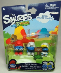 Smurfs - 1 inch micro figures Papa Smurf + Smurf + Smurfette Jakks, Smurfs, Action Figures, 2013, animated, cartoon, movie