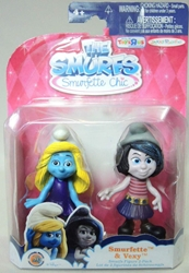 Smurfs 2.5 inch Figures 2-pack Smurfette & Vexy Jakks, Smurfs, Action Figures, 2013, animated, cartoon, movie