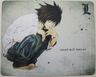 Death Note mouse pad - Crouching & thinking L