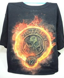 NECA Hunger Games Black T-shirt District 12 logo - Medium NECA, Hunger Games, cosplay, 2012|Color~black|Color~orange, scifi, movie
