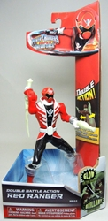 Power Rangers Super Megaforce Double Action Red Ranger (glow-in-the-dark white trim) Bandai, Power Rangers, Action Figures, 2014, scifi, tv show