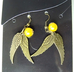 Harry Potter Golden Snitch - earrings China, Harry Potter, Novelty Jewelry, 2010|Color~brass|Color~yellow, fantasy, book