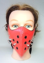 Punk Half-Mask Muzzle with Spikes & Breathing holes (red) China, Punk, Cosplay, 2015|Color~red