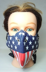 All-Americam Half-Mask Muzzle with breahting holes (US flag) China, Punk, Cosplay, 2015|Color~red|Color~white|Color~navy