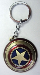 Captain America Shield - alloy keychain China, Captain America, Keychains, 2015|Color~blue|Color~red|Color~brass, superhero, movie