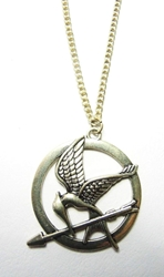 Hunger Games Stylized MockingJay alloy medallion necklace China, Hunger Games, Necklace, 2015|Color~brass, scifi, movie