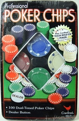 100 Professional Poker Chips in a gift tin. Cardinal, Poker, Games, 2004