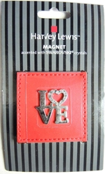 Harvey Lewis Valentine LOVE magnet accented with Swarovski crystals