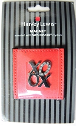 Harvey Lewis Valentine XOXO magnet accented with Swarovski crystals Harvey Lewis, valentines, Novelty Jewelry, 2010|Color~chrome, holiday