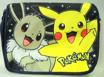 Pokemon shoulder bag with Pikachu & Eevee China, Pokemon, Cosplay, 2015|Color~black|Color~yellow, animated, game