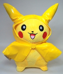 Pokemon plush 11 inch Pikachu in yellow rain poncho China, Pokemon, Plush, 2015, animated, game