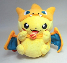 Pokemon plush 5 inch Pikachu in charizard costume - with keychain China, Pokemon, Keychains, 2015|Color~yellow|Color~orange, animated, game