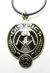 Hunger Games District 12 alloy medallion necklace China, Hunger Games, Necklace, 2015|Color~brass|Color~black, scifi, movie