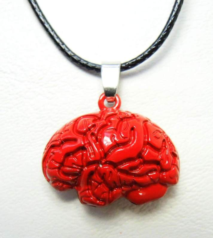 iZombie Brain medallion on a black chord necklace. China, iZombie, Necklace, 2015|Color~red, horror, halloween