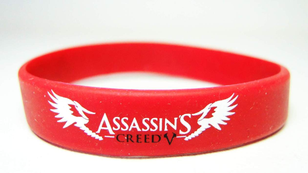 Assassins Creed - Live by the Creed rubber bracelet (red) China, Assassins Creed, Novelty Jewelry, 2015|Color~red, warriors, video game