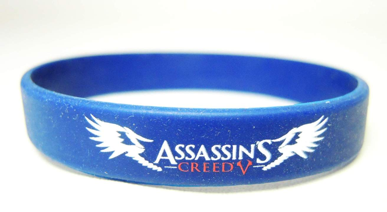 Assassins Creed - Live by the Creed rubber bracelet (navy) China, Assassins Creed, Novelty Jewelry, 2015|Color~navy, warriors, video game