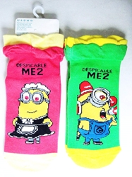Despicable Me Minion Ankle socks (2 pairs - 1  green 1 pink) China, Despicable Me, Cosplay, 2015|Color~green|Color~pink, animated, movie