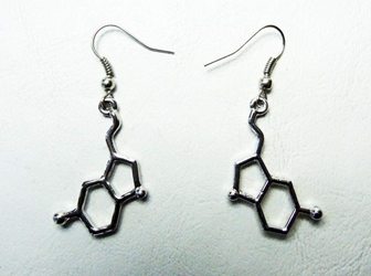 Dopamine Molecule Alloy Earrings China, Science, Novelty Jewelry, 2015|Color~chrome