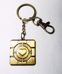 Portal 2 Love Cube alloy keychain (brass) China, Portal, Keychains, 2015|Color~brass, scifi, video game