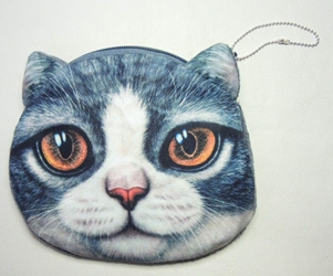 Cat purse with zipper closure China, Cats, Novelty Jewelry, 2015|Color~grey, cute animals