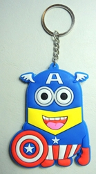 Despicable Me soft plastic keychain - Minion in Captain America Costume China, Despicable Me, Keychains, 2015|Color~yellow|Color~blue, animated, movie