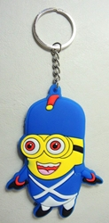Despicable Me soft plastic keychain - Minion in Soldier Uniform China, Despicable Me, Keychains, 2015|Color~yellow|Color~blue, animated, movie
