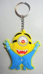 Despicable Me soft plastic keychain - Minion in Vampire costume China, Despicable Me, Keychains, 2015|Color~yellow|Color~blue, animated, movie