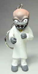 Plants vs Zombies 2.5 inch figure keychain - Scientist Zombie China, Plants vs Zombies, Keychains, 2015|Color~white|Color~mud, horror, halloween, video game