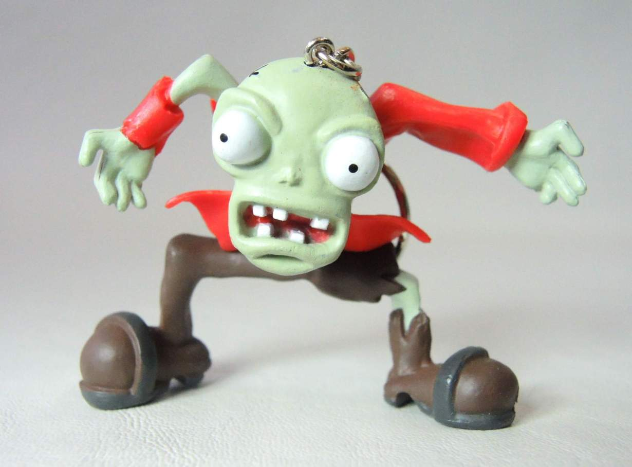 Plants vs Zombies 2.5 inch figure keychain - Bug-eyed zombie in red coat China, Plants vs Zombies, Keychains, 2015|Color~red|Color~mud, horror, halloween, video game