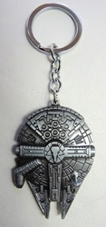 Star Wars Millennium Falcon Spaceship alloy keychain (pewter) China, Star Wars, Keychains, 2015|Color~pewter, scifi, movie