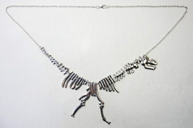Prehistoric Dinosaur skeleton necklace China, Jurassic Park, Necklace, 2015|Color~silver, dinosaurs, movie