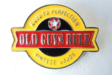 Old Guys Rule Aged to Perfection Vintage Goods - metal alloy pin China, Old Guys Rule, Novelty Jewelry, 2015|Color~yellow|Color~red, family