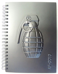 Black 7x5 Notebook with grenade molded into cover - The perfect Hurt Journal China, Military, Military, 2016, military