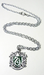 Harry Potter alloy pendant necklace - Crest of Slytherin China, Harry Potter, Necklace, 2015|Color~green|Color~pewter, fantasy, book