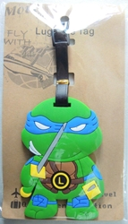 TMNT Teenage Mutant Ninja Turtles Leonardo Soft Plastic Luggage Tag (blue mask)