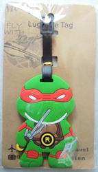 TMNT Teenage Mutant Ninja Turtles Raphael Soft Plastic Luggage Tag (red mask)