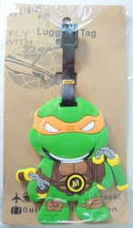 TMNT Teenage Mutant Ninja Turtles Michelangelo Soft Plastic Luggage Tag (orange mask)